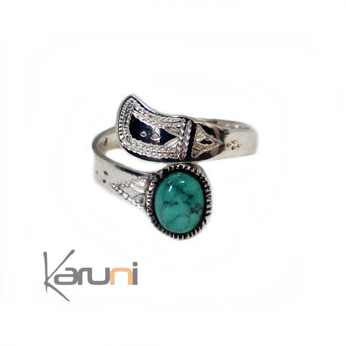 Ethnic Turquoise Ring Sterling Silver 1068