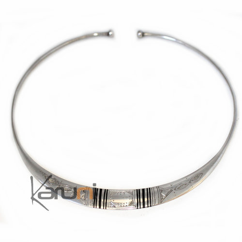 Ethnic Choker Necklace Sterling Silver Jewelry Engraved Large Torque Tuareg 8001