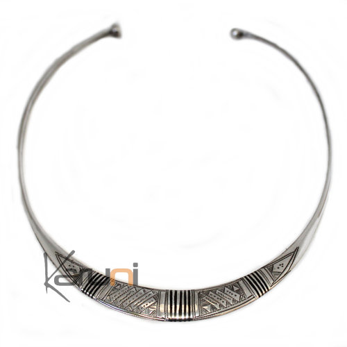 Ethnic Jewelry Choker Necklace Sterling Silver and Ebony Engraved Torque 8003