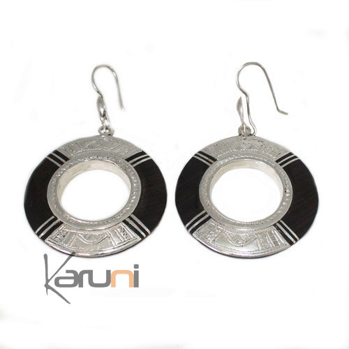 Ethnic Earrings Sterling Silver Jewelry Ebony 5007