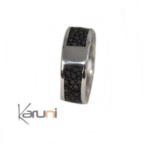 Ring Silver Galuchat Fish Leather 1070