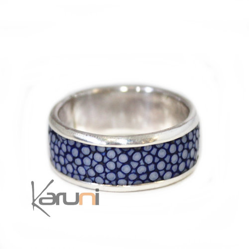 Ring Silver Blue Galuchat Fish Leather 1071