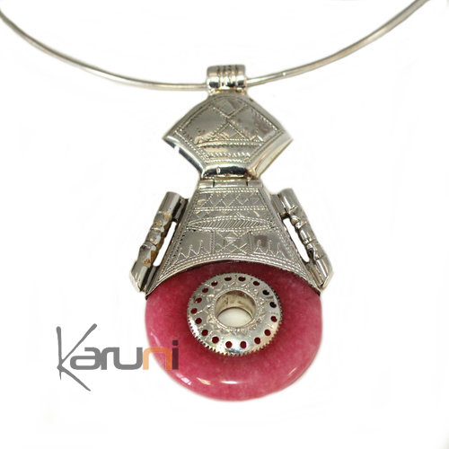 Necklace Pendant Sterling Silver Ethnic Jewelry Pink Agate 7043