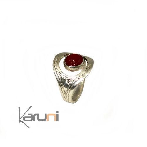 Ethnic Fancy Ring Sterling Silver Red Carnelian 1075