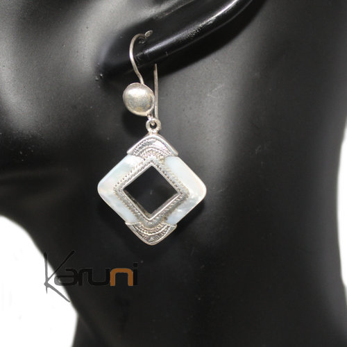 Ethnic Earrings  Engraved Silver Mother of Pearl 5008
