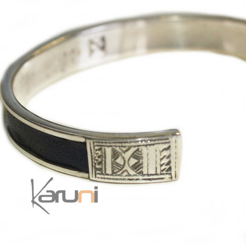 Sterling Silver Jewelry Leather Silver bracelet 3041