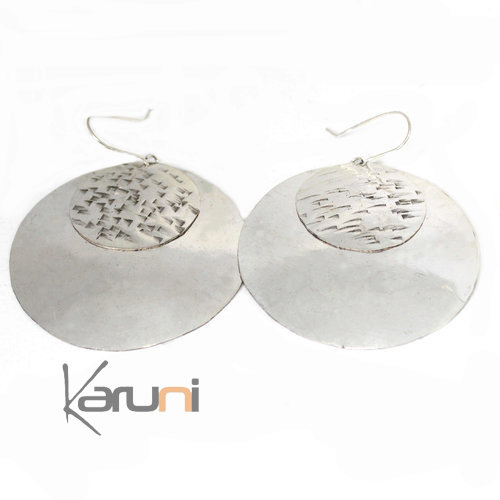 Fancy Earrings Peul Fulani Bronze Silver Bath Round 5042