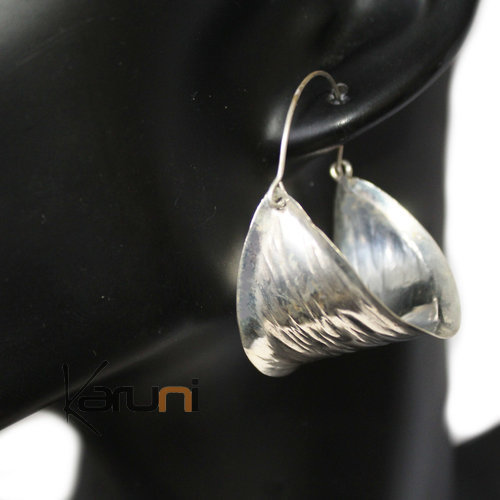 Fancy Earrings Peul Fulani Bronze Silver Bath 5043