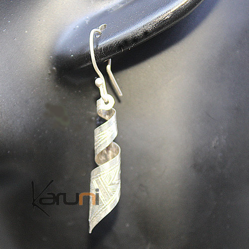 Engraved Silver Twist Earrings 5045