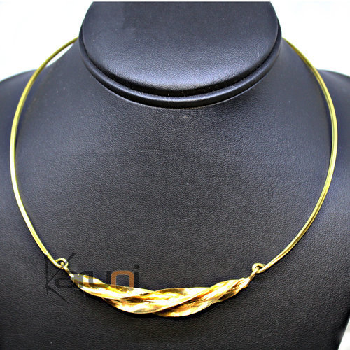 Ethnic African Jewelry Chocker Necklace Bronze Fulani Twisted Leaf