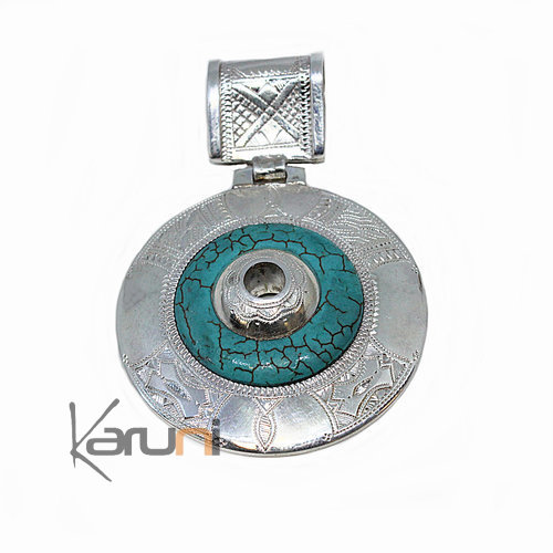 African Necklace Pendant Sterling Silver Ethnic  Turquoise Howlite 7046