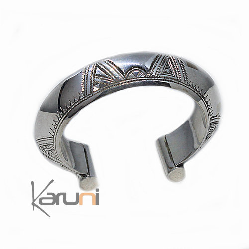 Ethnic Bracelet Sterling Silver Jewelry Large Rounded Engraved 2