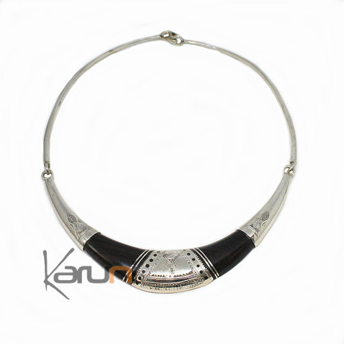 Ethnic Choker Necklace Sterling Silver Ebony Engraved 8005
