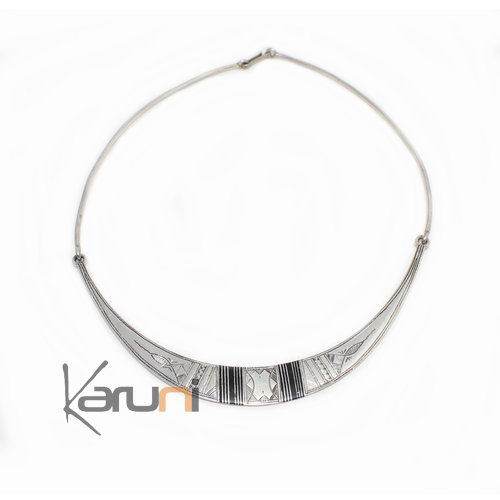 Ethnic Choker Necklace Sterling Silver Engraved Ebony Torque 8006