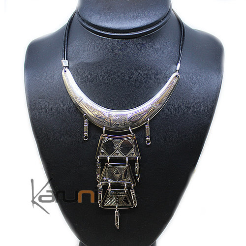 Ethnic Necklace Sterling Silver Leather 8006