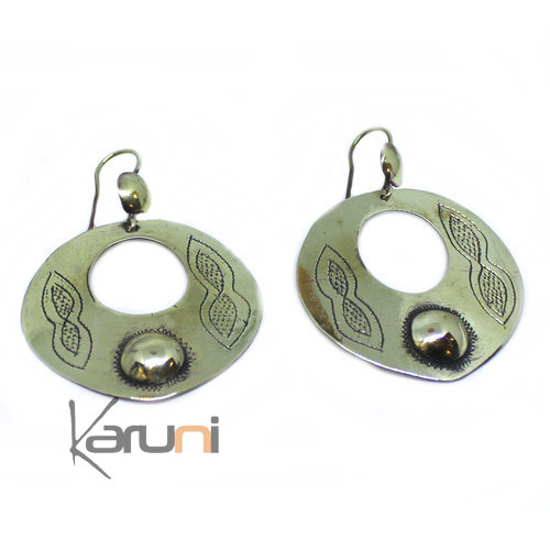 Fulani Bronze Engraved Earrings 5055