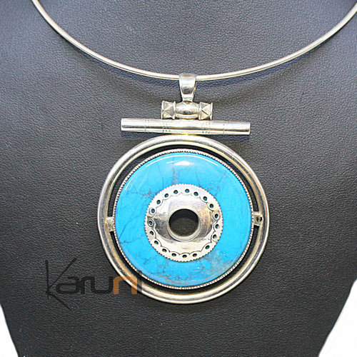 Pendant Necklace Sterling Silver Turquoise 7044