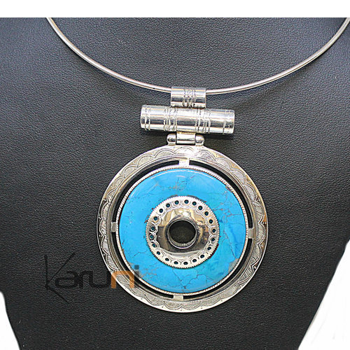 Pendant Necklace Sterling Silver Turquoise 7045