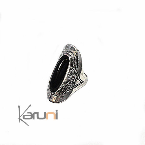 Ethnic Marquise Ring Sterling Silver Jewelry Onyx 1084