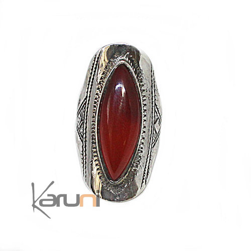 Ethnic Marquise Ring Sterling Silver Jewelry Cornelian 1085
