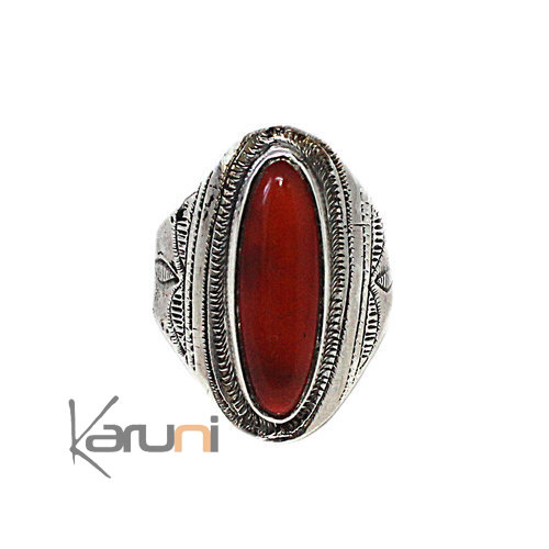Ethnic Marquise Ring Sterling Silver Jewelry Cornelian 1086