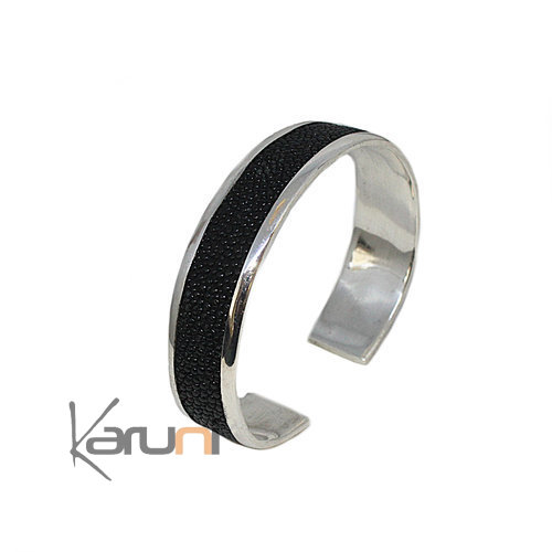 Fish Leather 999 Silver Bracelet Black