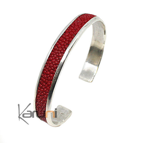 Fish Leather 999 Silver Bracelet Red