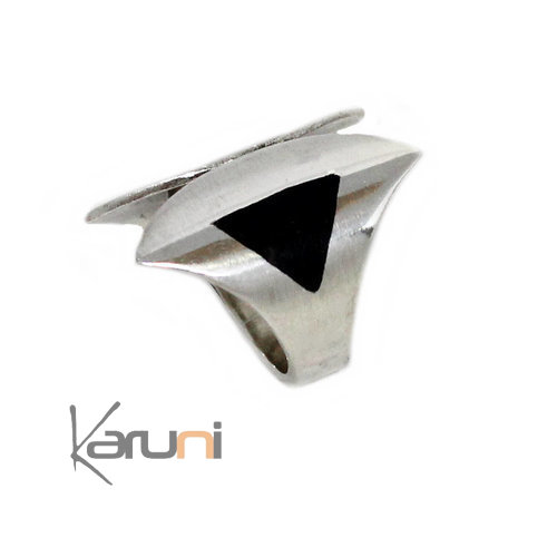 Adjustable Ebony Sterling Silver Ring 1097