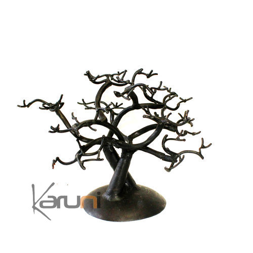 Crossed Jewelry Tree-holder recycled metal Madagascar baobab 04