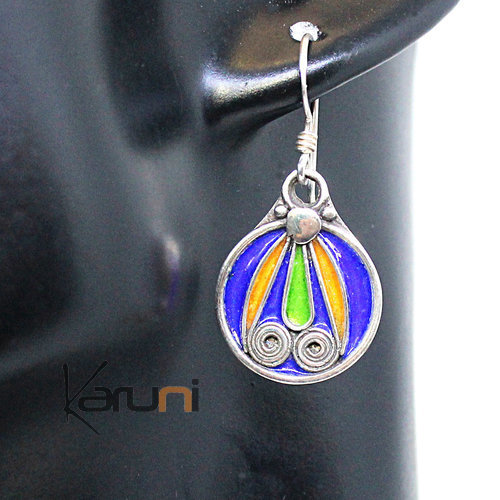940 Sterling Silver Berber Earrings Enamels 5071