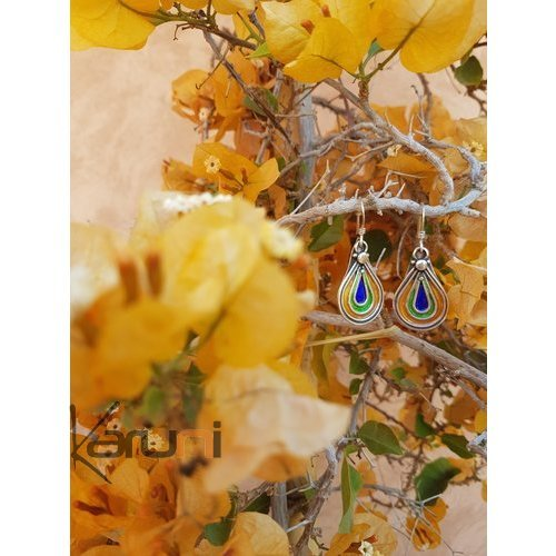 940 Sterling Silver Berber Earrings Enamels 5072