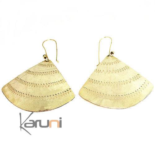 Fulani Ethnic Earrings Golden Fan 5078