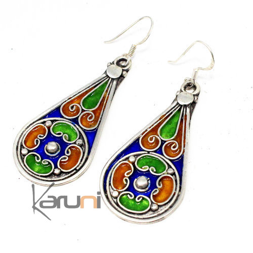 940 Sterling Silver Berber Earrings Enamels 5080