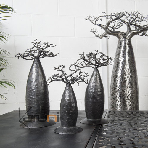 Jewelry Tree Baobab design jewelry holder 50 cm recycled metal Madagascar