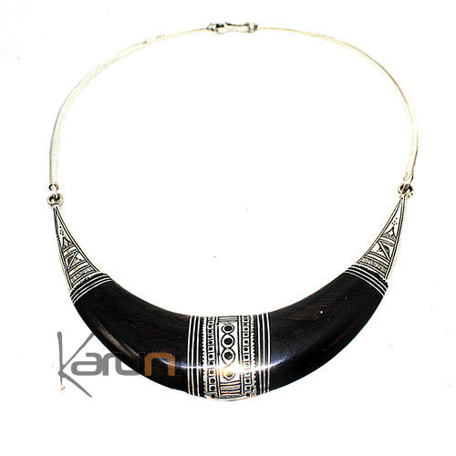 Ethnic Choker Necklace Sterling Silver Ebony 7045
