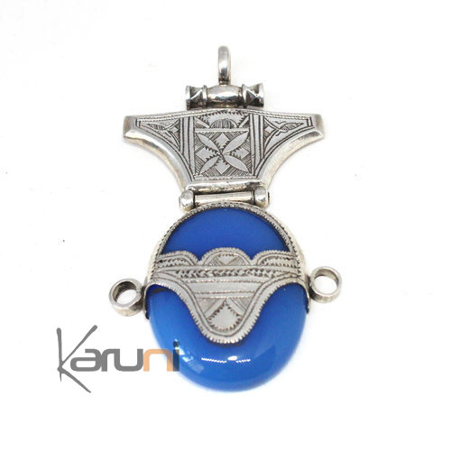 Sterling Silver Pendant Ethnic Jewelry Blue Agate Tuareg 7044
