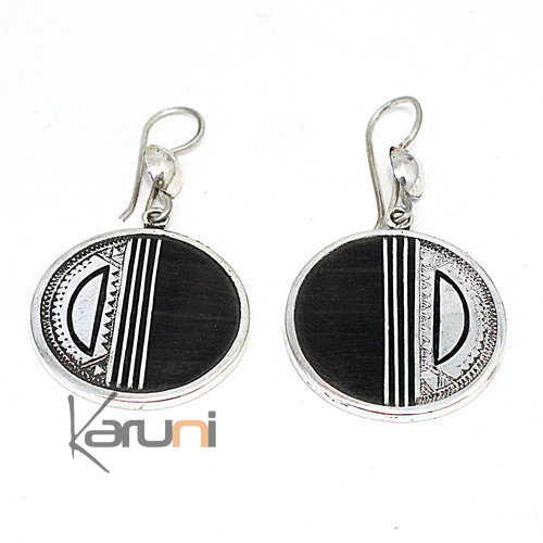 Ethnic Earrings Sterling Silver Ebony 5083