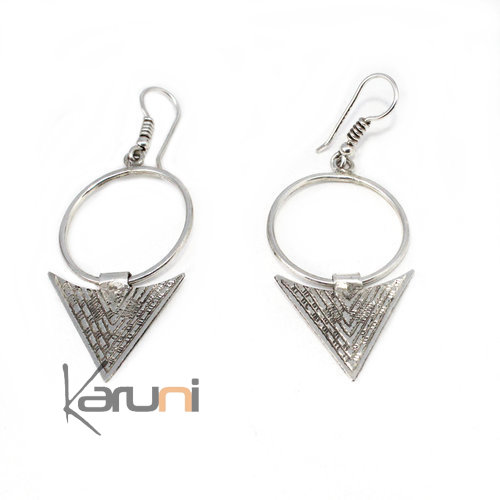 Ethnic Sterling Silver Earrings Creoles Triangle