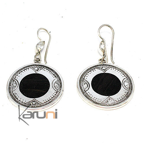 Ethnic Earrings Sterling Silver Ebony 5084