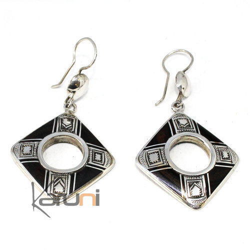 Ethnic Earrings Sterling Silver Ebony 5085
