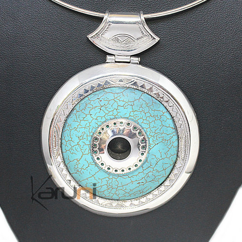 Necklace Pendant Sterling Silver Turquoise Howlite 7044