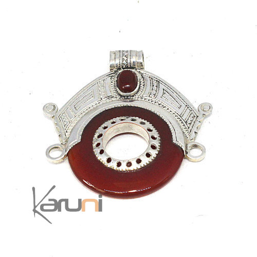 Necklace Pendant Sterling Silver Ethnic Jewelry Small Goddess Head Red Agate Tuareg 7051