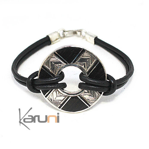 Ebony Silver Medallion Leather Bracelet 3092