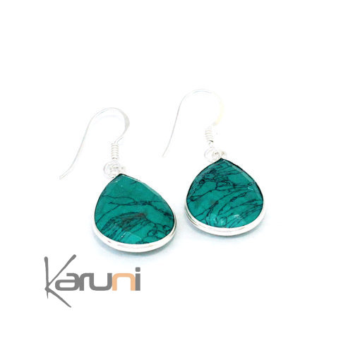 Sterling silver Howlite Turquoise Earrings 5095