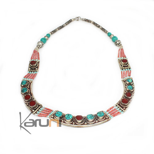 Turquoise Root Coral Necklace 7047
