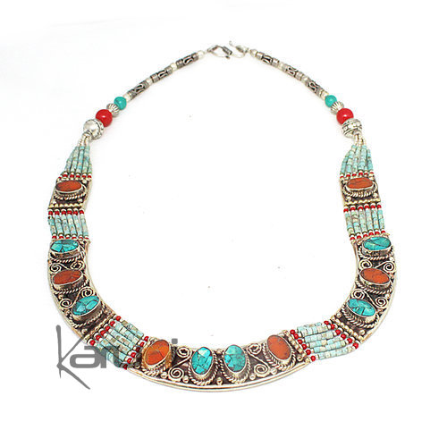 Turquoise Root Coral Necklace 7049