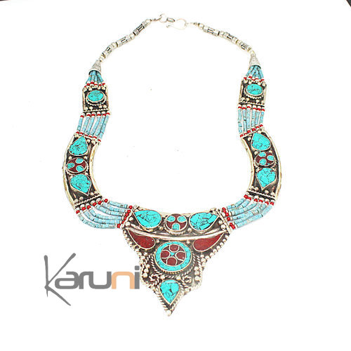 Turquoise Root Coral Necklace 7051