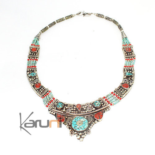 Turquoise Root Coral Necklace 7052