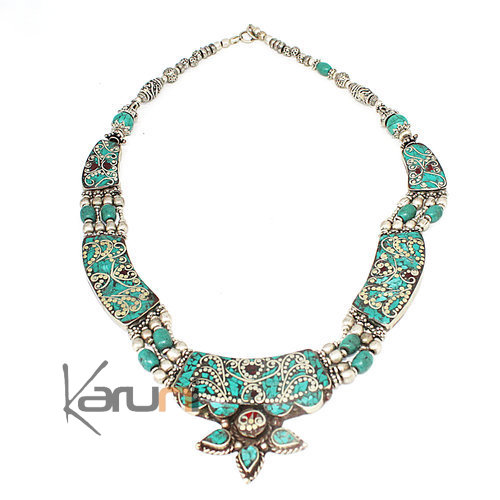 Turquoise Root Coral Necklace 7053