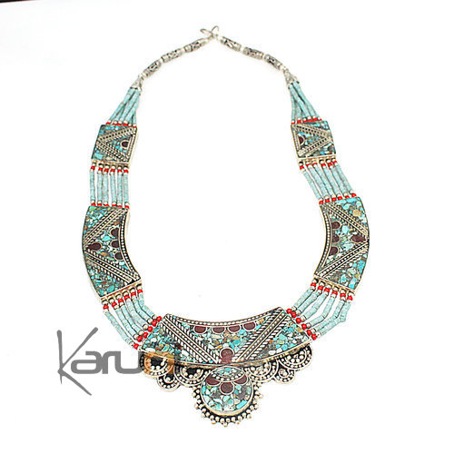 Turquoise Root Coral Necklace 7054